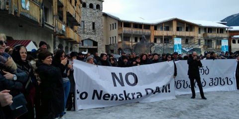 Protests against the Nenskra dam in the village of Chuberi, in Svaneti