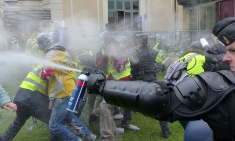 Police using tear gas to disperse peaceful demonstrators in Pau, France (c) 350.org