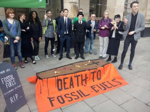 Birmingham Friends of the Earth's funeral for fossil fuels #ReclaimPower