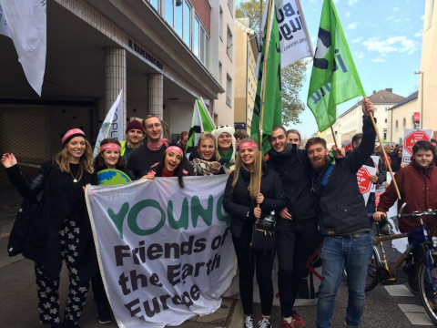 YFoEE at the mass mobilisation march in Bonn during COP23