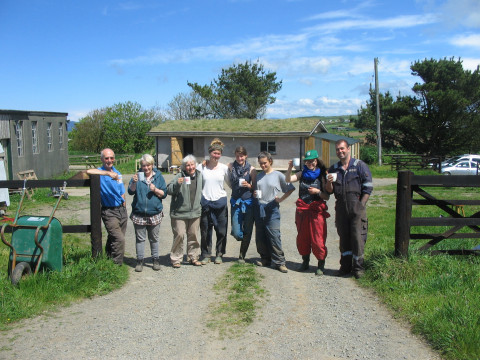 Juta and the team at the agri-activism placement in St. David's, Wales (c) YFoEE