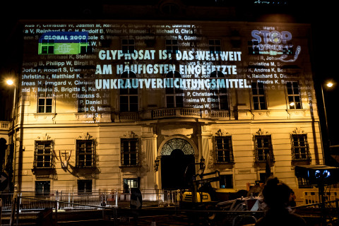 "On October 1, 2017, GLOBAL 2000 projected the names of all Austrians who have signed the European Citizens' Initiative ""Stop Gylphosate"" on the façade of the Chancellery."