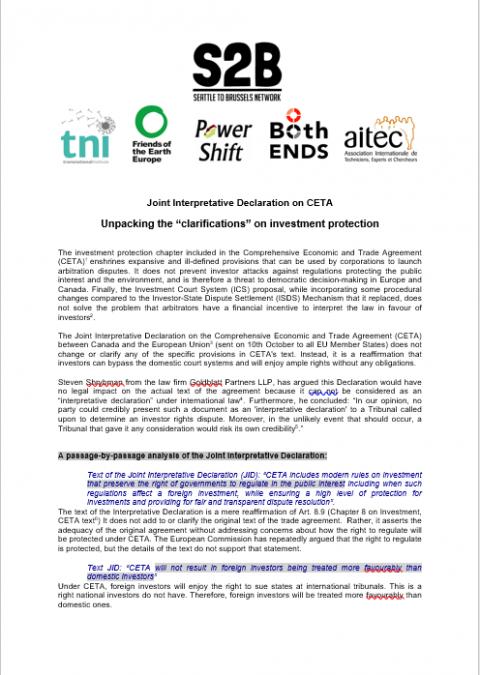 Joint Interpretative Declaration On Ceta Unpacking The