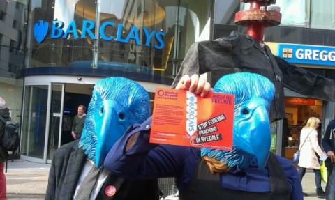 Local activists protest against Barclays in Leeds