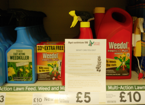 Raising awareness about glyphosate in local supermarkets. Photo by Ingrid