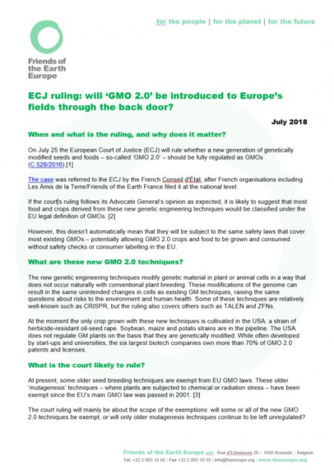 ECJ ruling: will 'GMO 2 0' be introduced to Europe's fields