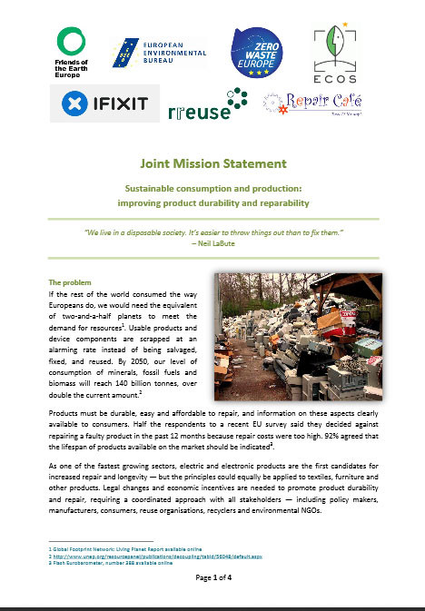Joint mission statement on sustainable consumption and