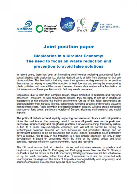 Joint NGO position paper: bioplastics in a circular economy