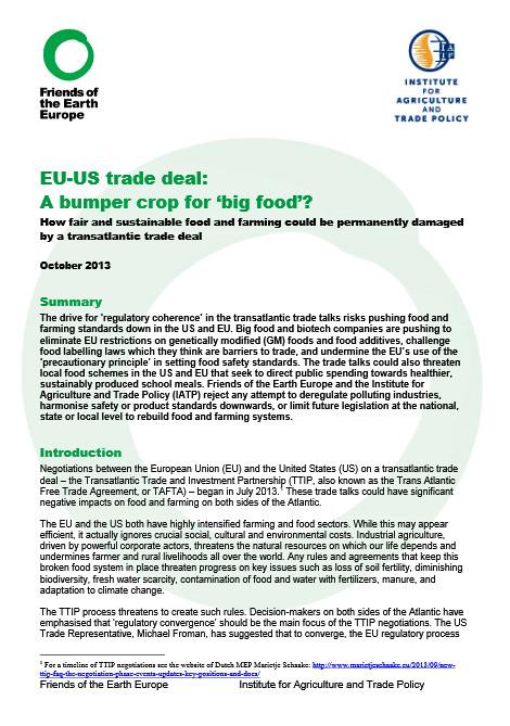 Briefing Eu Us Trade Deal A Bumper Crop For Big Food Friends
