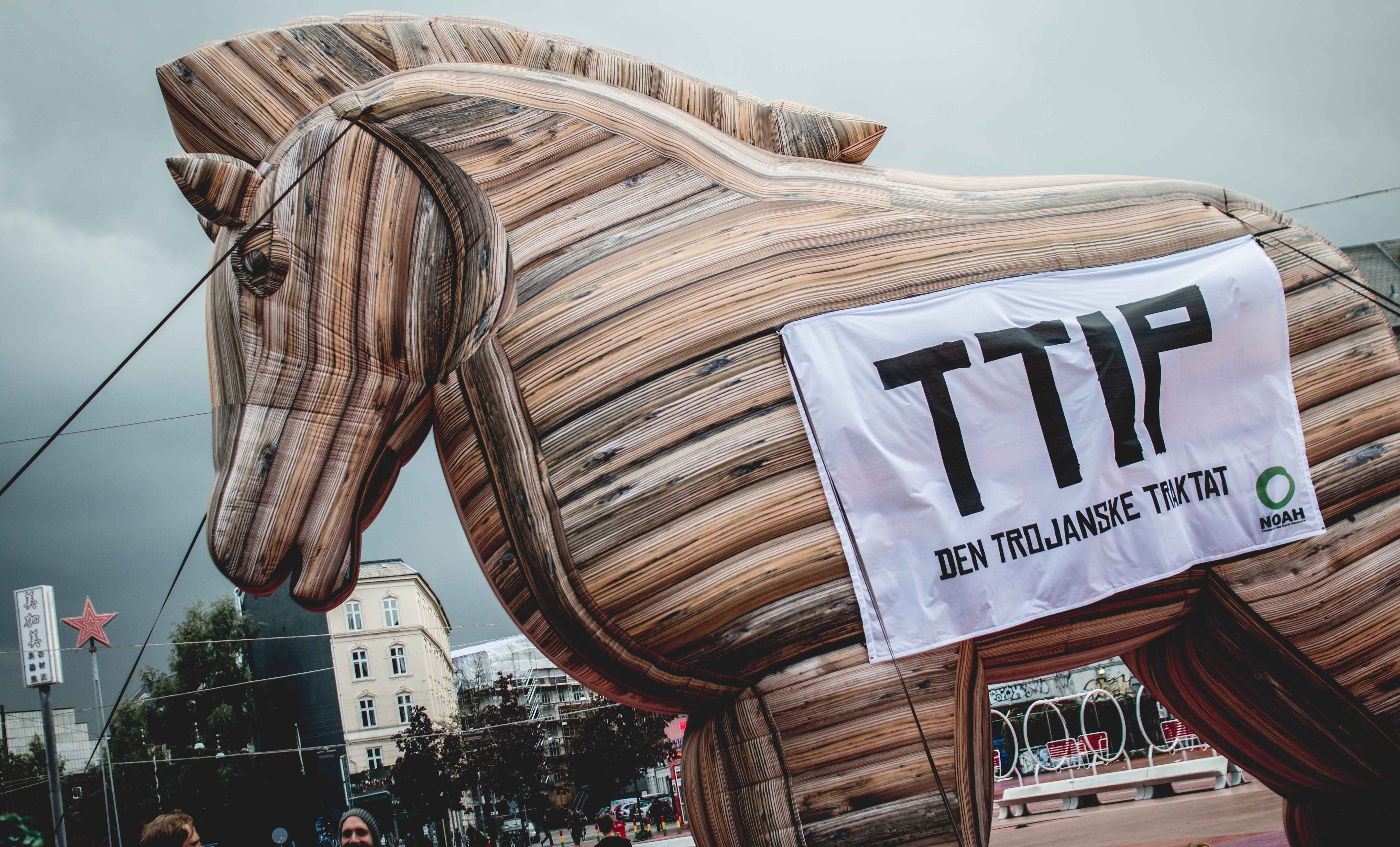 Giant Trojan horse protests against EU-US trade deal